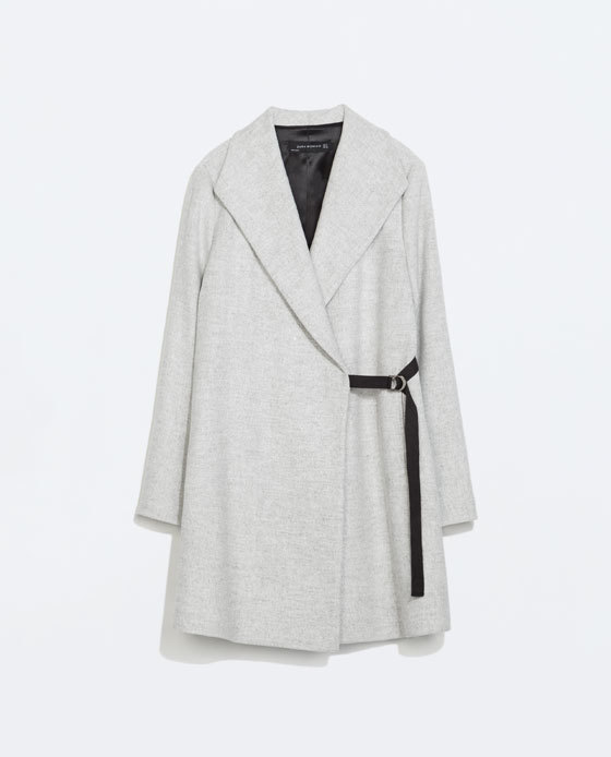 Coat With Wide Collar - pattern: plain; collar: shawl/waterfall; length: mid thigh; predominant colour: light grey; occasions: casual, creative work; fit: straight cut (boxy); style: cocoon; fibres: polyester/polyamide - mix; waist detail: belted waist/tie at waist/drawstring; sleeve length: long sleeve; sleeve style: standard; collar break: medium; texture group: woven bulky/heavy; season: a/w 2014