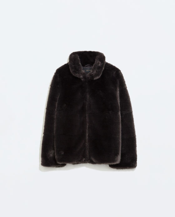 Fur Jacket - pattern: plain; style: boxy; predominant colour: charcoal; occasions: casual, evening, creative work; length: standard; fit: straight cut (boxy); fibres: acrylic - mix; sleeve length: long sleeve; sleeve style: standard; texture group: fur; collar: fur; collar break: high; pattern type: fabric; trends: faux fur; season: a/w 2014
