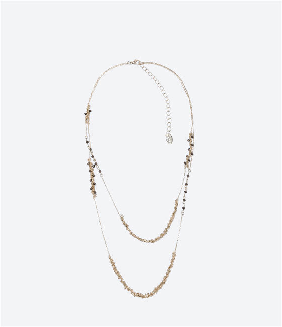 Jewels Necklace - predominant colour: gold; occasions: casual, evening, occasion; style: multistrand; length: mid; size: standard; material: chain/metal; finish: metallic; embellishment: jewels/stone; season: a/w 2014