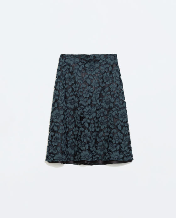 Lace Skirt - fit: loose/voluminous; waist: mid/regular rise; predominant colour: teal; secondary colour: black; occasions: evening, occasion; length: on the knee; style: a-line; texture group: lace; pattern type: fabric; pattern: patterned/print; fibres: viscose/rayon - mix; trends: zesty shades; season: a/w 2014; pattern size: standard (bottom)