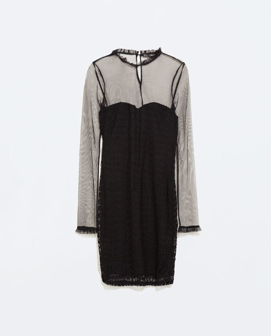 Embroidered Bodycon Dress - neckline: round neck; fit: tight; pattern: plain; style: bodycon; predominant colour: black; occasions: evening, occasion; length: just above the knee; fibres: viscose/rayon - 100%; sleeve length: long sleeve; sleeve style: standard; texture group: other - light to midweight; season: a/w 2014; shoulder detail: sheer at shoulder