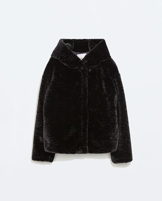 Jacket With Fur Hood - pattern: plain; back detail: hood; style: boxy; predominant colour: black; occasions: casual, evening, creative work; length: standard; fit: straight cut (boxy); fibres: polyester/polyamide - 100%; sleeve length: long sleeve; sleeve style: standard; texture group: fur; collar: fur; collar break: high; pattern type: fabric; season: a/w 2014; wardrobe: basic