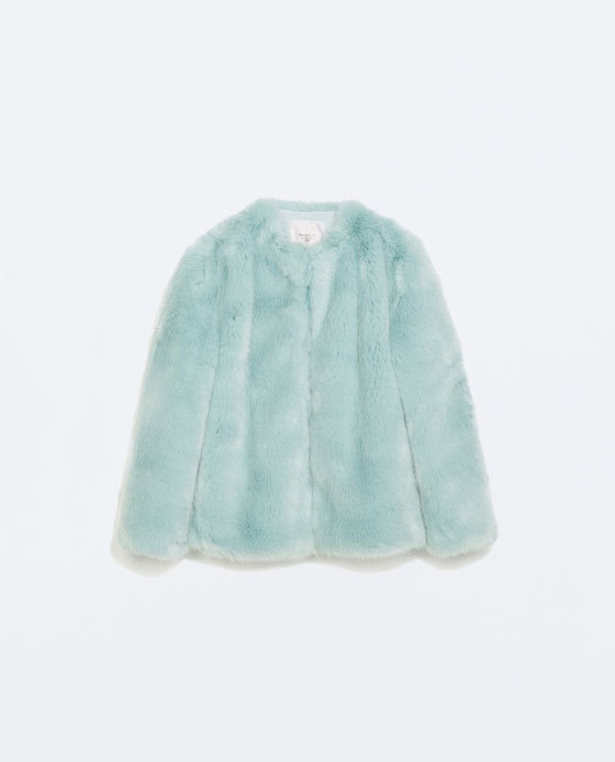 Colored Fur Coat - pattern: plain; length: standard; collar: round collar/collarless; predominant colour: mint green; occasions: casual, evening, creative work; fit: straight cut (boxy); fibres: acrylic - mix; style: fur coat; sleeve length: long sleeve; sleeve style: standard; texture group: fur; collar break: high; pattern type: fabric; embellishment: fur; trends: zesty shades, faux fur; season: a/w 2014