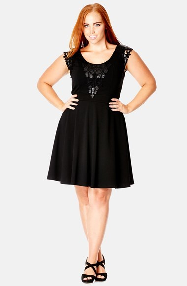 'lady Midnight' Fit & Flare Dress (Plus Size) - sleeve style: capped; pattern: plain; predominant colour: black; occasions: casual, evening, occasion, creative work; length: just above the knee; fit: fitted at waist & bust; style: fit & flare; neckline: scoop; hip detail: subtle/flattering hip detail; sleeve length: sleeveless; pattern type: fabric; texture group: jersey - stretchy/drapey; fibres: viscose/rayon - mix; embellishment: lace; season: a/w 2014; wardrobe: highlight; embellishment location: top
