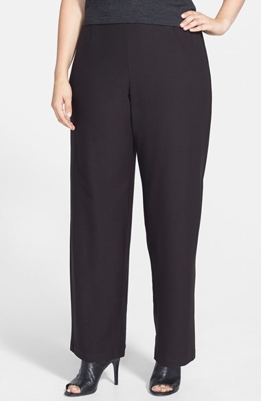 Straight Yoke Knit Pants (Plus Size) - length: standard; pattern: plain; waist: mid/regular rise; predominant colour: black; occasions: casual, evening, work, creative work; fibres: viscose/rayon - stretch; fit: straight leg; pattern type: fabric; texture group: woven light midweight; style: standard; season: a/w 2014