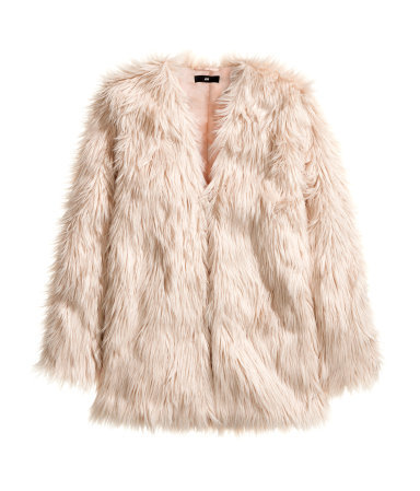 Fake Fur Jacket - pattern: plain; length: below the bottom; collar: round collar/collarless; fit: loose; style: single breasted; predominant colour: nude; occasions: casual, evening, creative work; fibres: acrylic - mix; sleeve length: long sleeve; sleeve style: standard; texture group: fur; collar break: low/open; trends: faux fur; season: a/w 2014