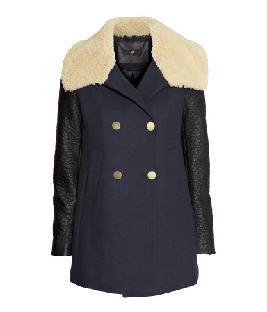 Coat With A Pile Collar - length: below the bottom; style: double breasted; predominant colour: navy; secondary colour: stone; occasions: casual, evening, creative work; fit: tailored/fitted; fibres: polyester/polyamide - mix; sleeve length: long sleeve; sleeve style: standard; collar: fur; collar break: medium; pattern: colourblock; texture group: woven bulky/heavy; trends: outerwear chic, faux fur; season: a/w 2014