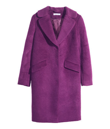 Wool Coat - pattern: plain; style: single breasted; length: on the knee; collar: standard lapel/rever collar; predominant colour: purple; occasions: casual, evening, creative work; fit: straight cut (boxy); fibres: wool - mix; sleeve length: long sleeve; sleeve style: standard; collar break: low/open; texture group: woven bulky/heavy; trends: zesty shades; season: a/w 2014