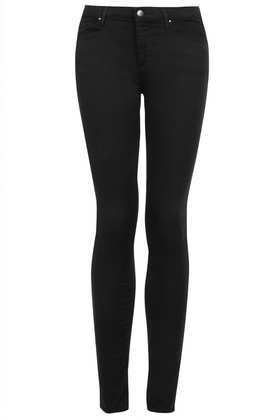Petite Moto Leigh Jeans - style: skinny leg; length: standard; pattern: plain; waist: high rise; pocket detail: traditional 5 pocket; predominant colour: black; occasions: casual, evening, creative work; fibres: cotton - stretch; texture group: denim; pattern type: fabric; season: a/w 2014; wardrobe: basic