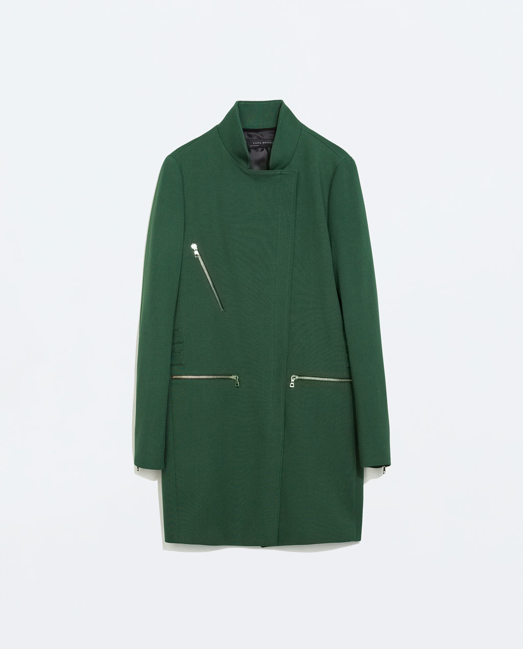Zip Buckle Coat - pattern: plain; style: single breasted; collar: high neck; length: mid thigh; predominant colour: dark green; secondary colour: silver; occasions: casual, creative work; fit: straight cut (boxy); fibres: polyester/polyamide - mix; back detail: back vent/flap at back; sleeve length: long sleeve; sleeve style: standard; collar break: high/illusion of break when open; pattern type: fabric; texture group: woven bulky/heavy; trends: zesty shades; season: a/w 2014; hip detail: front pockets at hip