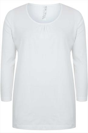 Off White Long Sleeved Basic T Shirt With Ruching Detail - neckline: round neck; pattern: plain; style: t-shirt; predominant colour: blush; occasions: casual, creative work; length: standard; fibres: cotton - 100%; fit: body skimming; sleeve length: 3/4 length; sleeve style: standard; pattern type: fabric; texture group: jersey - stretchy/drapey; season: a/w 2014
