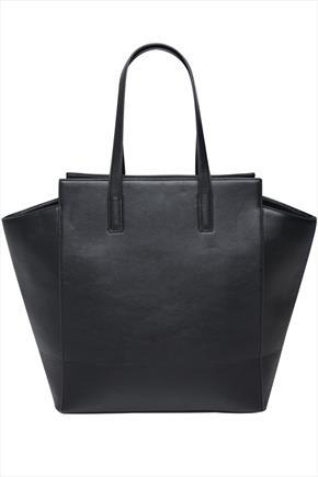 Black Leather Look Large Structured Shopper Bag - predominant colour: black; occasions: work, creative work; style: tote; length: shoulder (tucks under arm); size: standard; material: faux leather; pattern: plain; finish: plain; season: a/w 2014