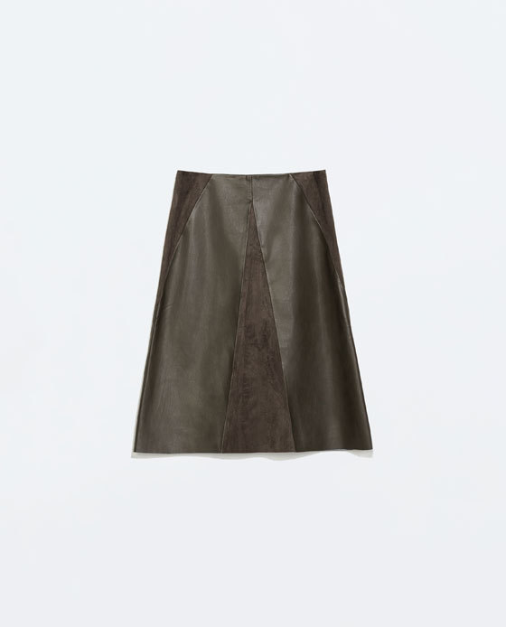 Faux Suede Skirt - pattern: plain; fit: loose/voluminous; waist: mid/regular rise; predominant colour: chocolate brown; occasions: casual, evening, creative work; length: on the knee; style: a-line; texture group: leather; fibres: pvc/polyurethene - 100%; season: a/w 2014