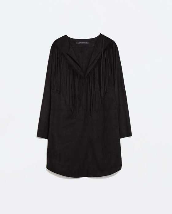 Fringed Dress - style: tunic; length: mid thigh; neckline: v-neck; pattern: plain; predominant colour: black; occasions: casual, creative work; fit: straight cut; fibres: polyester/polyamide - 100%; sleeve length: long sleeve; sleeve style: standard; pattern type: fabric; texture group: other - light to midweight; embellishment: fringing; season: a/w 2014; wardrobe: highlight; embellishment location: bust