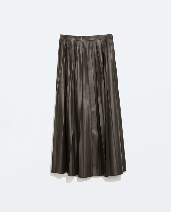 Leather Effect Long Skirt - length: calf length; pattern: plain; fit: loose/voluminous; style: pleated; waist: mid/regular rise; predominant colour: dark green; occasions: casual, evening; waist detail: feature waist detail; texture group: leather; pattern type: fabric; fibres: pvc/polyurethene - 100%; season: a/w 2014