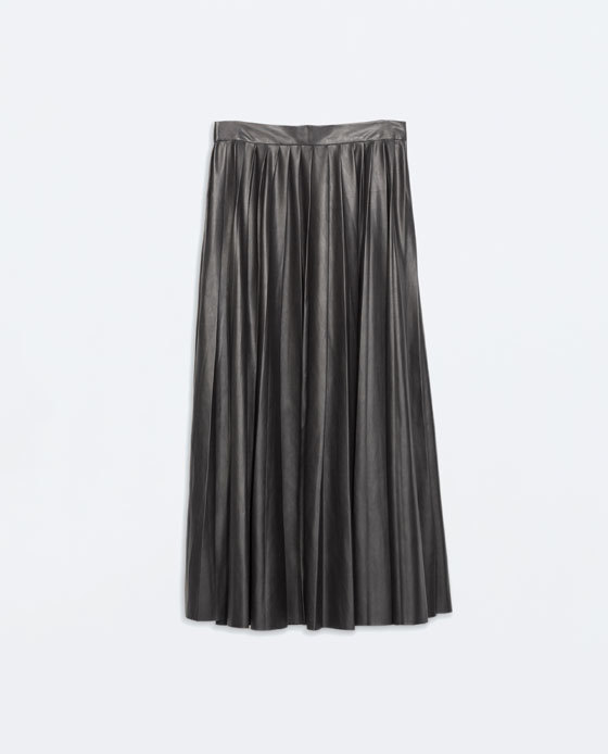 Leather Effect Long Skirt - length: calf length; pattern: plain; fit: loose/voluminous; style: pleated; waist: mid/regular rise; predominant colour: charcoal; occasions: casual, evening; waist detail: feature waist detail; texture group: leather; pattern type: fabric; fibres: pvc/polyurethene - 100%; season: a/w 2014