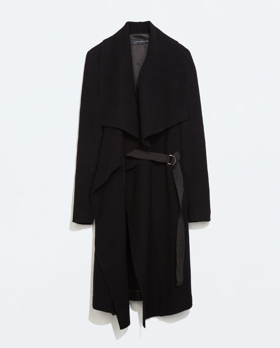 Draped Coat With Ribbons - pattern: plain; collar: shawl/waterfall; length: on the knee; style: wrap around; predominant colour: black; occasions: casual, evening, creative work; fit: straight cut (boxy); fibres: wool - mix; waist detail: belted waist/tie at waist/drawstring; sleeve length: long sleeve; sleeve style: standard; collar break: medium; pattern type: fabric; texture group: woven bulky/heavy; season: a/w 2014