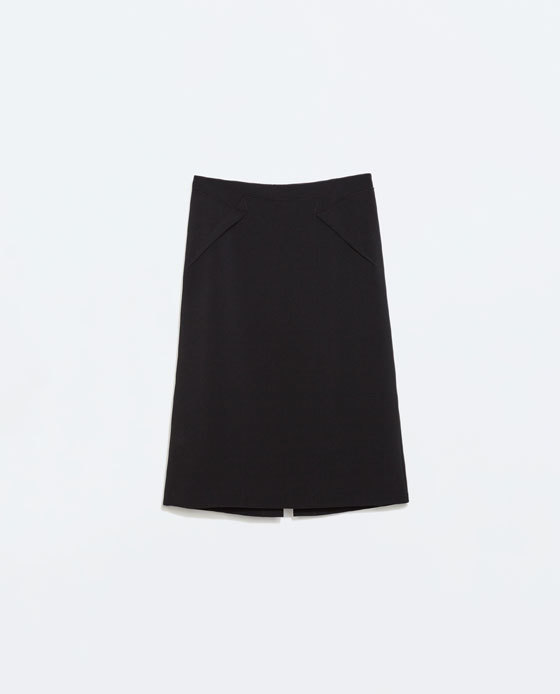 Pencil Skirt - pattern: plain; style: pencil; waist: mid/regular rise; predominant colour: black; occasions: work, creative work; length: on the knee; fibres: polyester/polyamide - stretch; texture group: crepes; fit: straight cut; season: a/w 2014