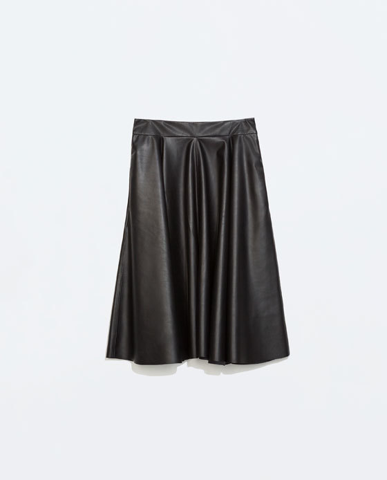 Wrap Skirt - pattern: plain; style: full/prom skirt; fit: loose/voluminous; waist: mid/regular rise; predominant colour: black; occasions: casual, creative work; length: on the knee; fibres: polyester/polyamide - 100%; hip detail: soft pleats at hip/draping at hip/flared at hip; waist detail: narrow waistband; texture group: leather; season: a/w 2014