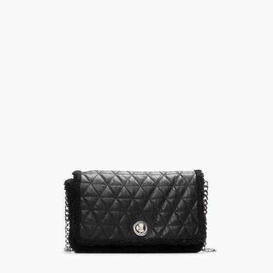 Quilted Leather Messenger Bag - predominant colour: black; type of pattern: standard; style: shoulder; length: across body/long; size: small; material: leather; embellishment: quilted; pattern: plain; finish: plain; occasions: creative work; season: a/w 2014