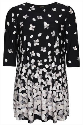 Black And Ecru Floral Petal Border Tunic Dress - style: tunic; length: mid thigh; neckline: round neck; fit: loose; secondary colour: light grey; predominant colour: black; occasions: casual, evening, creative work; sleeve length: 3/4 length; sleeve style: standard; pattern type: fabric; pattern size: standard; pattern: florals; texture group: jersey - stretchy/drapey; season: a/w 2014