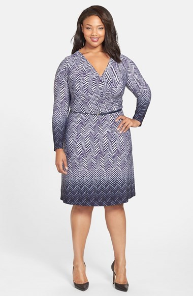 Herringbone Print Faux Wrap Dress (Plus Size) - style: faux wrap/wrap; neckline: v-neck; secondary colour: white; predominant colour: navy; occasions: casual, creative work; length: on the knee; fit: body skimming; fibres: polyester/polyamide - stretch; sleeve length: long sleeve; sleeve style: standard; texture group: jersey - clingy; pattern type: fabric; pattern size: standard; pattern: patterned/print; season: a/w 2014