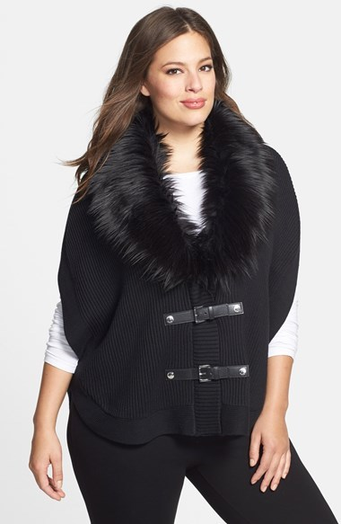 Faux Fur Trim Buckle Poncho (Plus Size) - pattern: plain; length: standard; collar: shawl/waterfall; fit: loose; style: poncho/blanket; predominant colour: black; occasions: casual, creative work; fibres: cotton - mix; sleeve length: 3/4 length; sleeve style: standard; texture group: knits/crochet; collar break: medium; pattern type: knitted - fine stitch; embellishment: fur; season: a/w 2014; wardrobe: highlight; embellishment location: neck