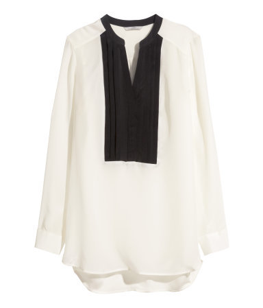 Silk Blouse - length: below the bottom; style: blouse; bust detail: subtle bust detail; predominant colour: ivory/cream; secondary colour: black; occasions: casual, evening, creative work; neckline: collarstand & mandarin with v-neck; fibres: silk - 100%; fit: loose; sleeve length: long sleeve; sleeve style: standard; texture group: silky - light; pattern type: fabric; pattern: colourblock; season: a/w 2014; wardrobe: highlight