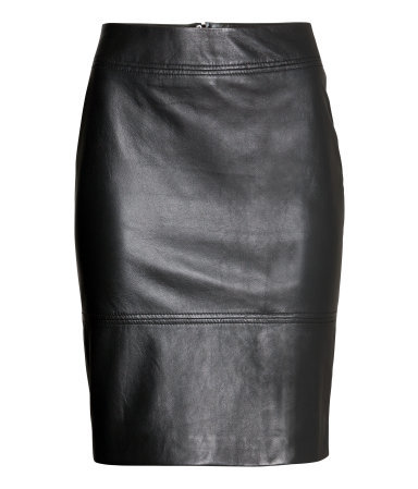 Leather Skirt - pattern: plain; style: pencil; fit: tailored/fitted; waist: mid/regular rise; predominant colour: black; occasions: casual, creative work; length: just above the knee; fibres: leather - 100%; texture group: leather; season: a/w 2014
