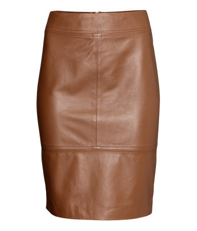 Leather Skirt - pattern: plain; style: pencil; fit: tailored/fitted; waist: mid/regular rise; predominant colour: tan; occasions: casual, evening, creative work; length: just above the knee; fibres: leather - 100%; texture group: leather; season: a/w 2014