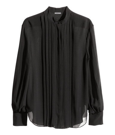 Silk Blouse - pattern: plain; style: blouse; bust detail: subtle bust detail; predominant colour: black; occasions: casual, evening, work, creative work; length: standard; neckline: collarstand; fibres: silk - 100%; fit: straight cut; sleeve length: long sleeve; sleeve style: standard; texture group: silky - light; pattern type: fabric; season: a/w 2014; wardrobe: basic