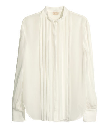 Silk Blouse - pattern: plain; style: blouse; bust detail: subtle bust detail; predominant colour: ivory/cream; occasions: casual, evening, work, creative work; length: standard; neckline: collarstand; fibres: silk - 100%; fit: straight cut; sleeve length: long sleeve; sleeve style: standard; texture group: silky - light; pattern type: fabric; season: a/w 2014; wardrobe: basic