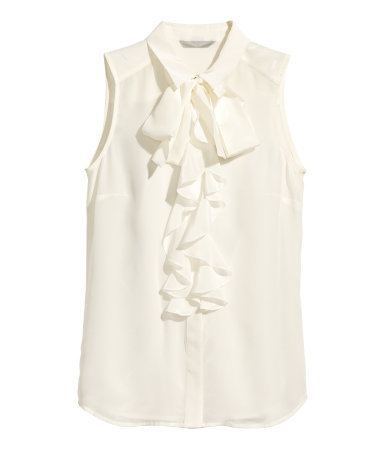 Frilled Silk Blouse - pattern: plain; sleeve style: sleeveless; neckline: pussy bow; style: blouse; predominant colour: white; occasions: casual, creative work; length: standard; fibres: silk - 100%; fit: straight cut; sleeve length: sleeveless; texture group: silky - light; season: a/w 2014