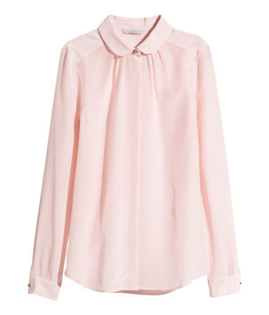 Silk Blouse - neckline: shirt collar/peter pan/zip with opening; pattern: plain; style: blouse; predominant colour: blush; occasions: casual, creative work; length: standard; fibres: silk - 100%; fit: straight cut; sleeve length: long sleeve; sleeve style: standard; texture group: silky - light; season: a/w 2014