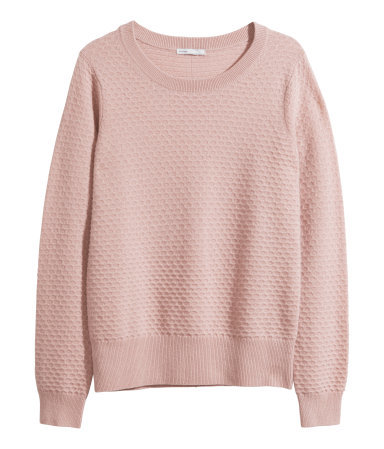 Cashmere Jumper - neckline: round neck; pattern: plain; style: standard; occasions: casual, creative work; length: standard; fit: standard fit; fibres: cashmere - 100%; sleeve length: long sleeve; sleeve style: standard; texture group: knits/crochet; predominant colour: dusky pink; season: a/w 2014