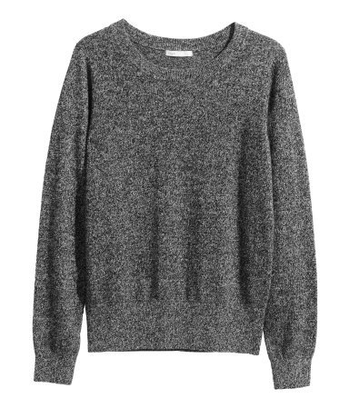Cashmere Jumper - style: standard; predominant colour: charcoal; occasions: casual, creative work; length: standard; fit: standard fit; neckline: crew; fibres: cashmere - 100%; sleeve length: long sleeve; sleeve style: standard; texture group: knits/crochet; pattern: marl; season: a/w 2014