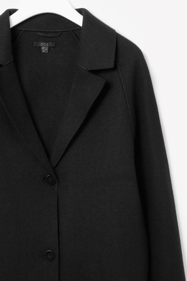 Clean Edge Wool Coat - pattern: plain; style: single breasted; collar: standard lapel/rever collar; length: calf length; predominant colour: black; occasions: casual, work, creative work; fit: straight cut (boxy); fibres: wool - mix; sleeve length: long sleeve; sleeve style: standard; collar break: medium; texture group: woven bulky/heavy; trends: outerwear chic; season: a/w 2014