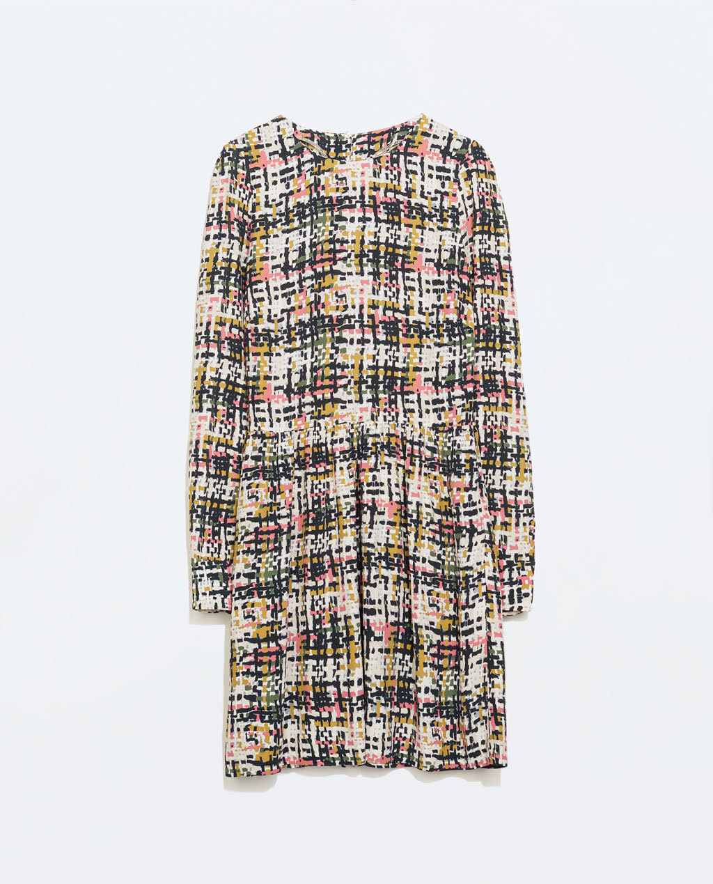 Long Sleeve Printed Dress - style: shift; length: mid thigh; fit: fitted at waist; pattern: checked/gingham; occasions: casual, evening, creative work; fibres: viscose/rayon - 100%; neckline: crew; predominant colour: multicoloured; sleeve length: long sleeve; sleeve style: standard; pattern type: fabric; pattern size: standard; texture group: other - light to midweight; trends: optic prints; season: a/w 2014; multicoloured: multicoloured