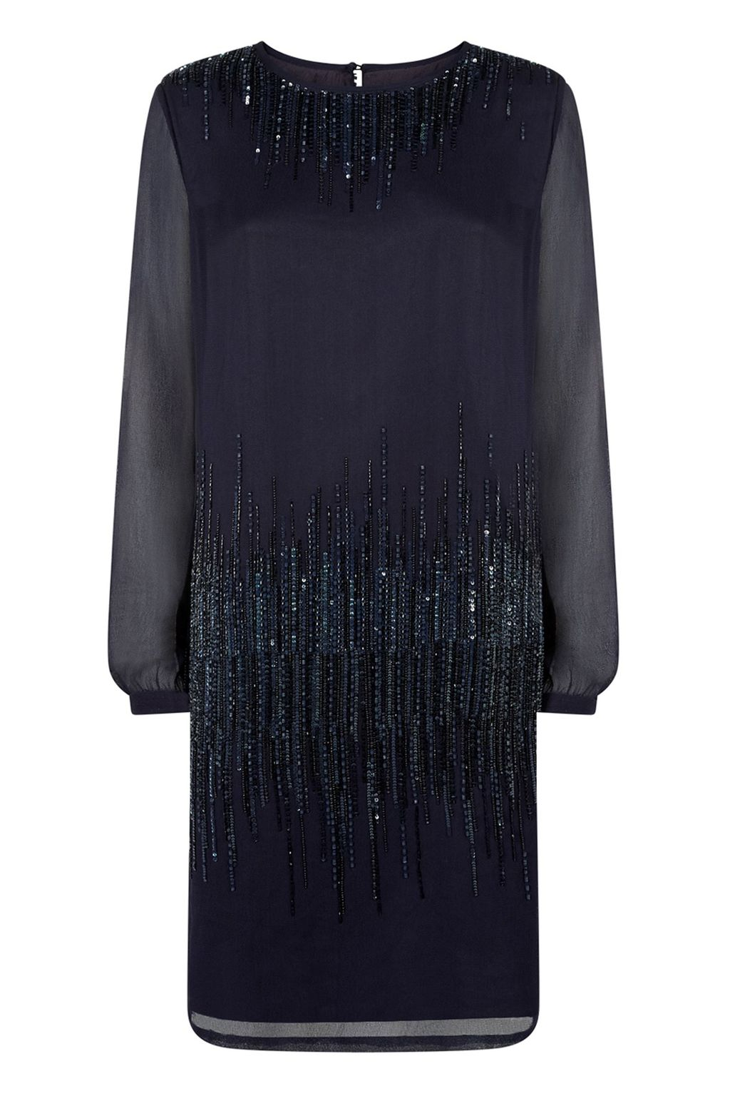 Dawn Dress, Navy - style: shift; neckline: round neck; pattern: plain; predominant colour: navy; occasions: evening, occasion; length: just above the knee; fit: straight cut; fibres: viscose/rayon - 100%; sleeve length: long sleeve; sleeve style: standard; texture group: sheer fabrics/chiffon/organza etc.; pattern type: fabric; embellishment: sequins; season: a/w 2014; wardrobe: event; embellishment location: hip, neck