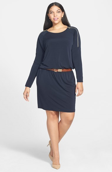 Zip Sleeve Dress (Plus Size) - style: tunic; neckline: round neck; pattern: plain; waist detail: belted waist/tie at waist/drawstring; predominant colour: navy; occasions: casual, evening, creative work; length: just above the knee; fit: body skimming; fibres: polyester/polyamide - mix; sleeve length: long sleeve; sleeve style: standard; texture group: jersey - stretchy/drapey; season: a/w 2014