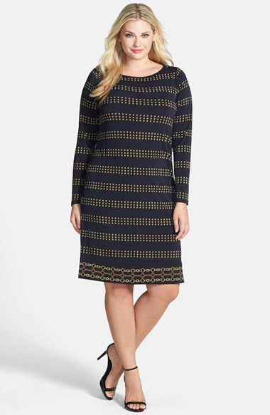 Border Print Boat Neck Dress (Plus Size) - style: tunic; neckline: slash/boat neckline; predominant colour: navy; occasions: casual, evening, creative work; length: on the knee; fit: straight cut; fibres: polyester/polyamide - mix; sleeve length: long sleeve; sleeve style: standard; pattern type: fabric; pattern size: standard; pattern: patterned/print; texture group: jersey - stretchy/drapey; season: a/w 2014