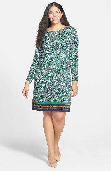 'ashbury' Paisley Print Jersey Sheath Dress (Plus Size) - style: tunic; neckline: slash/boat neckline; pattern: paisley; secondary colour: dark green; predominant colour: pistachio; occasions: casual, creative work; length: just above the knee; fit: body skimming; fibres: polyester/polyamide - stretch; sleeve length: long sleeve; sleeve style: standard; pattern type: fabric; pattern size: standard; texture group: jersey - stretchy/drapey; trends: optic prints; season: a/w 2014