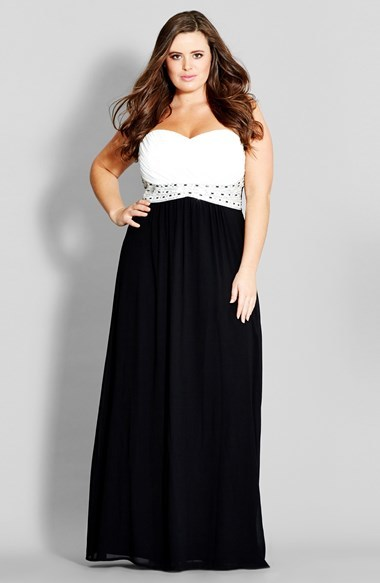 'contrast Camilla' Embellished Strapless Maxi Dress (Plus Size) - fit: empire; sleeve style: strapless; waist detail: embellishment at waist/feature waistband; neckline: sweetheart; secondary colour: white; predominant colour: black; occasions: evening, occasion; length: floor length; style: fit & flare; fibres: polyester/polyamide - stretch; sleeve length: sleeveless; pattern size: standard; pattern: colourblock; texture group: other - light to midweight; embellishment: crystals/glass; season: a/w 2014
