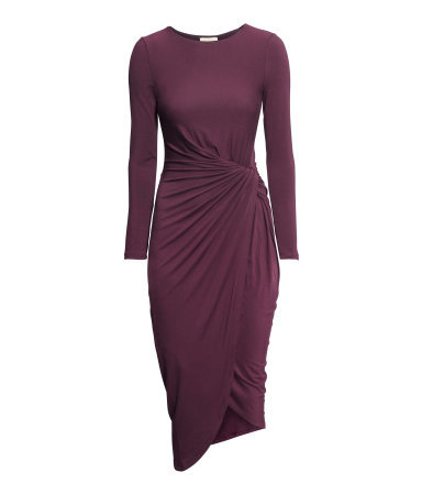 Jersey Dress - length: below the knee; neckline: round neck; pattern: plain; waist detail: twist front waist detail/nipped in at waist on one side/soft pleats/draping/ruching/gathering waist detail; predominant colour: aubergine; occasions: evening; fit: body skimming; style: asymmetric (hem); fibres: viscose/rayon - stretch; sleeve length: long sleeve; sleeve style: standard; texture group: jersey - clingy; trends: zesty shades; season: a/w 2014