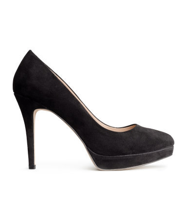Platform Court Shoes - predominant colour: black; occasions: evening, work, occasion; heel height: high; heel: stiletto; toe: round toe; style: courts; finish: plain; pattern: plain; material: faux suede; shoe detail: platform; season: a/w 2014