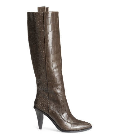 Crocodile Print Leather Boots - predominant colour: chocolate brown; material: animal skin; heel height: high; heel: cone; toe: round toe; boot length: knee; style: standard; finish: plain; pattern: plain; occasions: creative work; season: a/w 2014