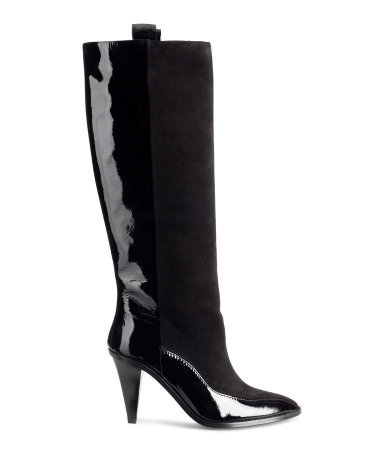 Leather And Suede Boots - predominant colour: black; material: leather; heel height: high; heel: cone; toe: pointed toe; boot length: knee; style: standard; finish: patent; pattern: plain; occasions: creative work; season: a/w 2014