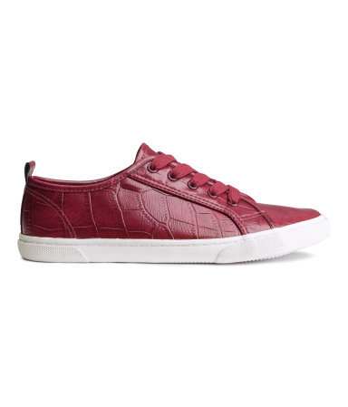 Sneakers - secondary colour: white; predominant colour: burgundy; occasions: casual, creative work; material: faux leather; heel height: flat; toe: round toe; style: trainers; finish: plain; pattern: animal print; shoe detail: platform; season: a/w 2014