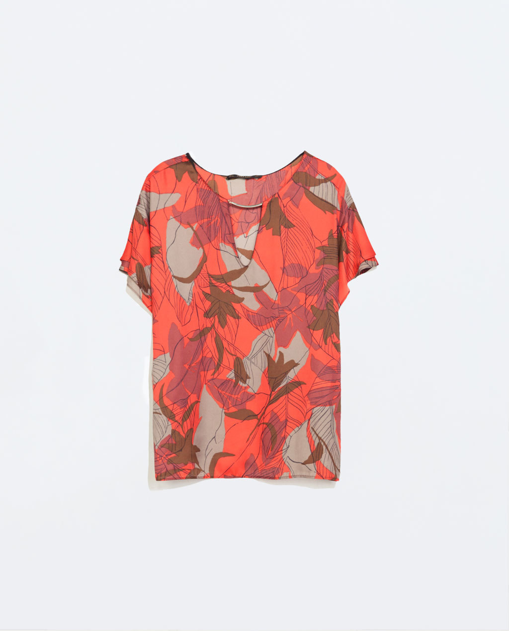 Printed Top With Applique - sleeve style: angel/waterfall; predominant colour: bright orange; secondary colour: taupe; occasions: casual, creative work; length: standard; style: top; neckline: peep hole neckline; fibres: polyester/polyamide - 100%; fit: loose; sleeve length: short sleeve; pattern type: fabric; pattern size: standard; pattern: patterned/print; texture group: other - light to midweight; trends: zesty shades; season: a/w 2014