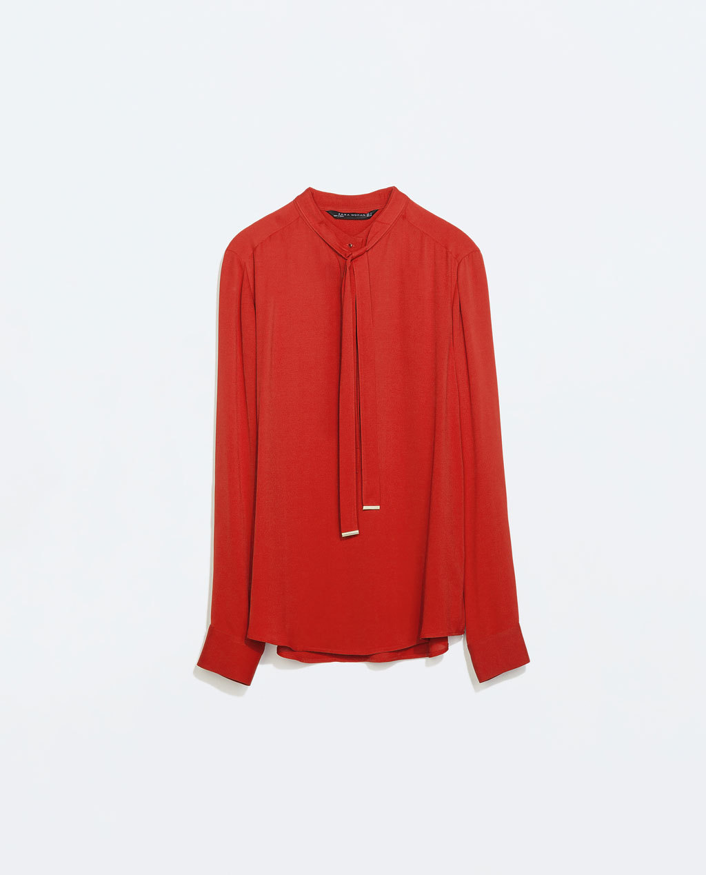 Bowed Blouse - pattern: plain; length: below the bottom; neckline: pussy bow; style: blouse; predominant colour: bright orange; occasions: casual, work, creative work; fibres: viscose/rayon - 100%; fit: straight cut; sleeve length: long sleeve; sleeve style: standard; texture group: crepes; trends: zesty shades; season: a/w 2014